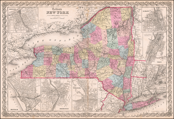 68-New York State Map By Joseph Hutchins Colton