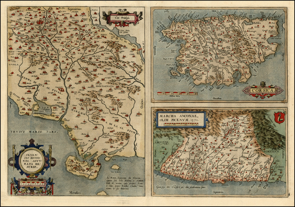 96-France, Italy and Balearic Islands Map By Abraham Ortelius