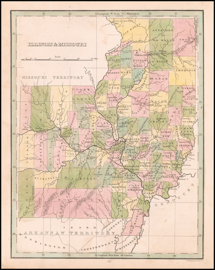 42-Midwest, Illinois, Plains and Missouri Map By Thomas Gamaliel Bradford
