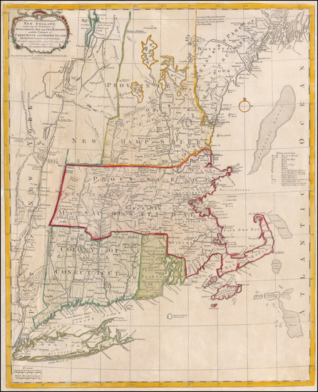 22-New England, Connecticut, Maine, Massachusetts, New Hampshire, Rhode Island and Vermont Map By
