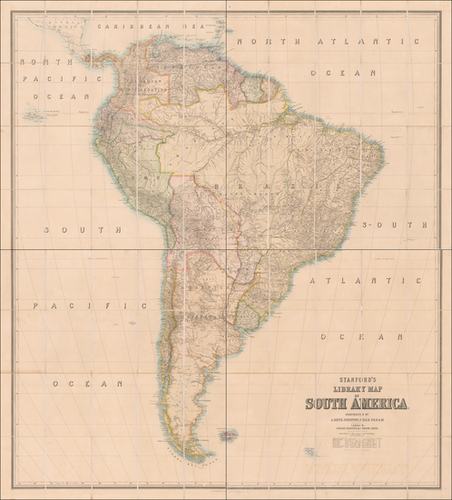 85-South America Map By Edward Stanford