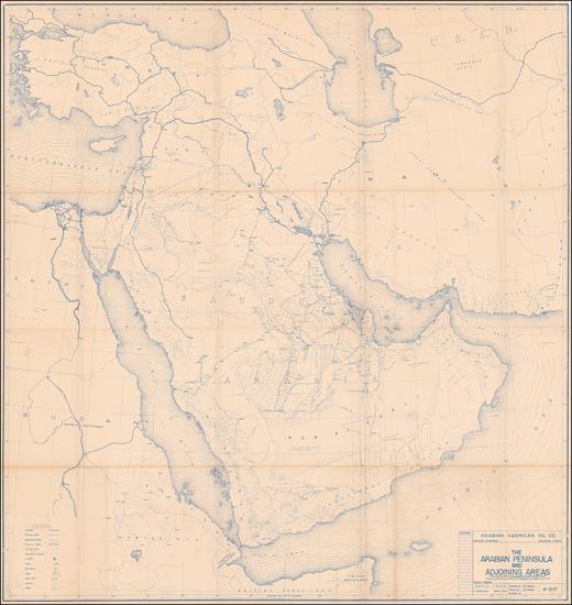 76-Middle East and Arabian Peninsula Map By Arabian American Oil Co.