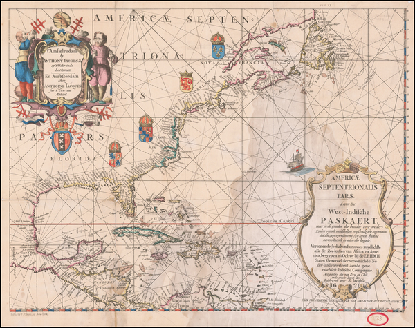 57-United States and North America Map By Anthonie (Theunis)   Jacobsz