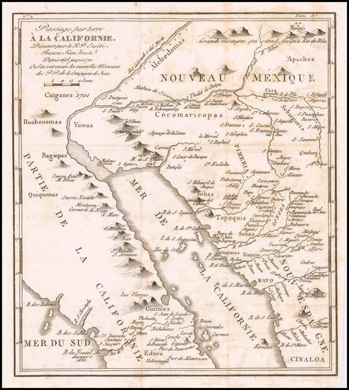44-Southwest, Mexico, Baja California and California Map By Fr. Eusebio Kino