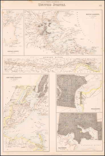 Maine, Massachusetts, New York City, New York State and Maryland Map By Archibald Fullarton & Co.