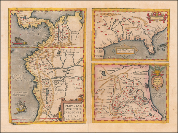 84-Florida, South, Southeast, Central America and South America Map By Abraham Ortelius