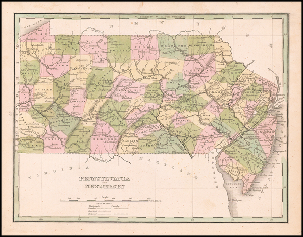 95-New Jersey and Pennsylvania Map By Thomas Gamaliel Bradford