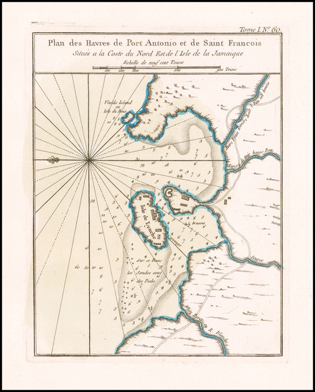 37-Jamaica Map By Jacques Nicolas Bellin
