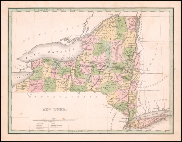 100-New York State Map By Thomas Gamaliel Bradford