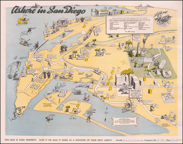 49-Pictorial Maps, California and San Diego Map By United States Naval Training Center