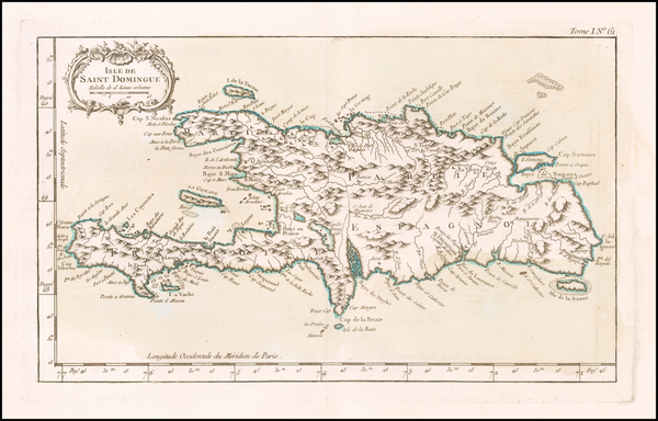 62-Hispaniola Map By Jacques Nicolas Bellin