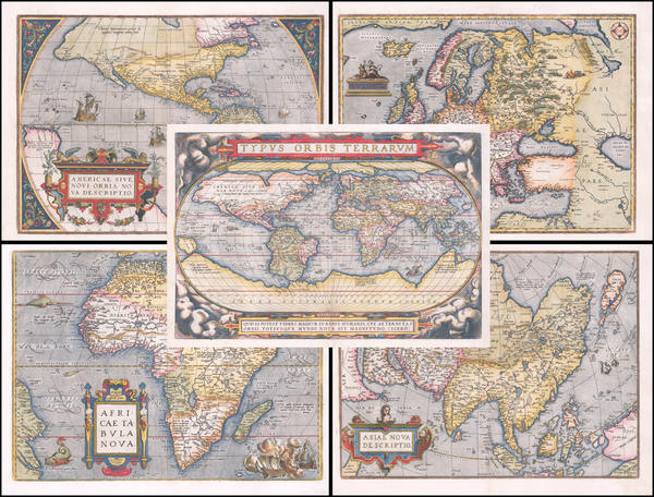 World, Europe, Asia, Africa and America Map By Abraham Ortelius