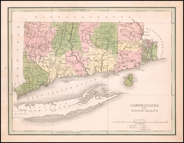 98-Connecticut and Rhode Island Map By Thomas Gamaliel Bradford