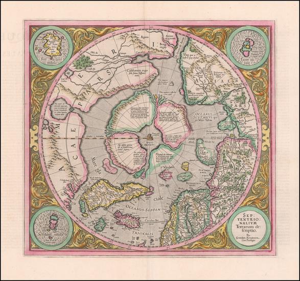 36-Northern Hemisphere and Polar Maps Map By Gerard Mercator