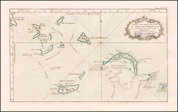 74-Bahamas and Other Islands Map By Jacques Nicolas Bellin