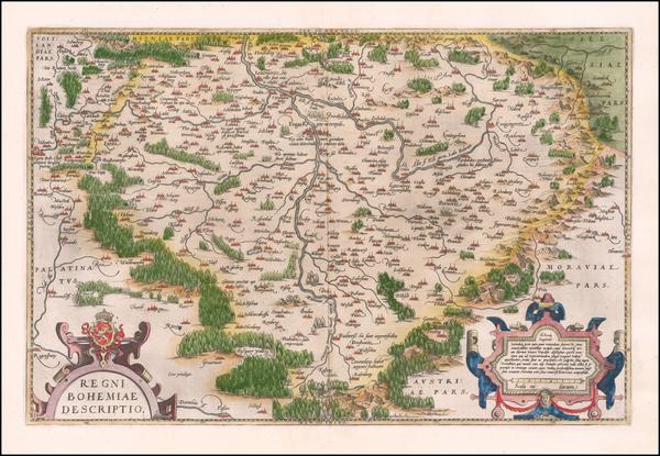 88-Czech Republic & Slovakia Map By Abraham Ortelius