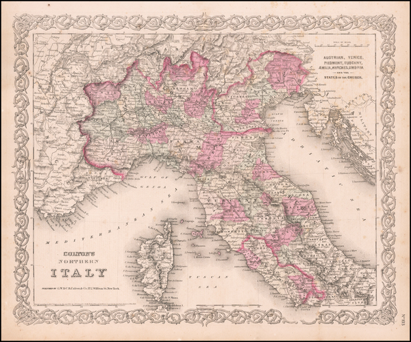 43-Europe and Italy Map By Joseph Hutchins Colton