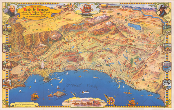95-Pictorial Maps, California and Los Angeles Map By Roads To Romance Inc.