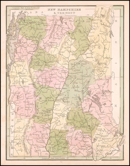 New Hampshire and Vermont Map By Thomas Gamaliel Bradford