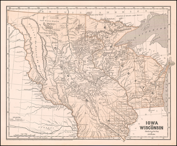 14-Minnesota, Wisconsin, Iowa, North Dakota and South Dakota Map By Sidney Morse  &  Samuel Br