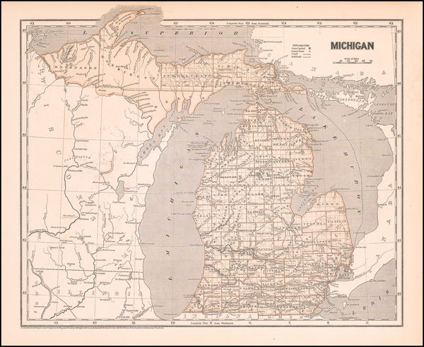 Michigan Map By Sidney Morse  &  Samuel Breese