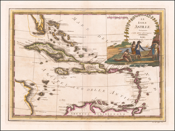 67-Southeast and Caribbean Map By Giovanni Maria Cassini