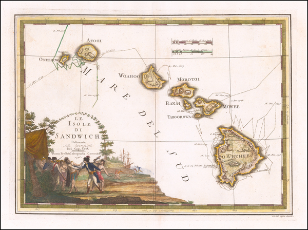 87-Hawaii and Hawaii Map By Giovanni Maria Cassini