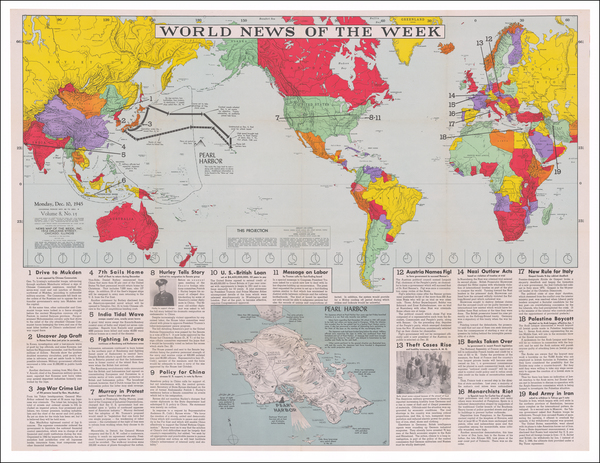 75-World, Hawaii, Hawaii and World War II Map By News Map of the Week Inc.