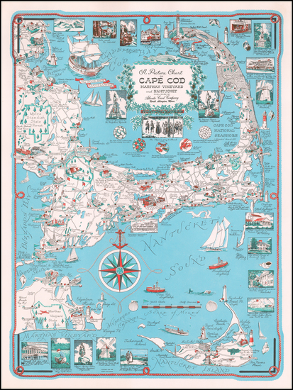 77-Massachusetts and Pictorial Maps Map By Ernest Dudley Chase