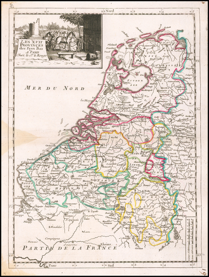 65-Netherlands and Luxembourg Map By Georges Louis Le Rouge