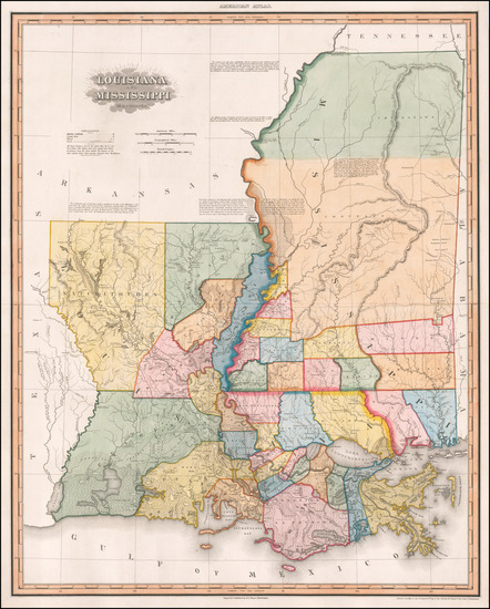 45-South, Louisiana and Mississippi Map By Henry Schenk Tanner