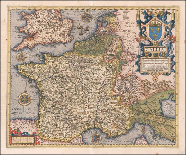 11-France Map By Abraham Ortelius / Johannes Baptista Vrients