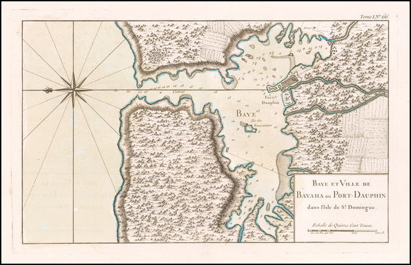 50-Hispaniola Map By Jacques Nicolas Bellin