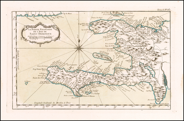 32-Hispaniola Map By Jacques Nicolas Bellin
