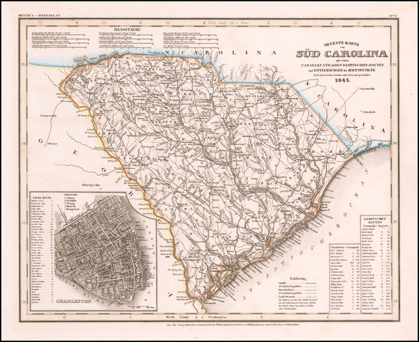 48-South Carolina Map By Joseph Meyer  &  Carl Radefeld