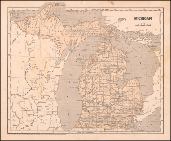 62-Michigan Map By Sidney Morse  &  Samuel Breese
