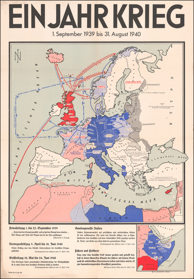 14-Europe and World War II Map By H. M. Hauschild