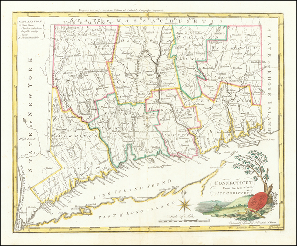 95-Connecticut Map By Mathew Carey
