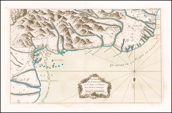 86-Hispaniola Map By Jacques Nicolas Bellin