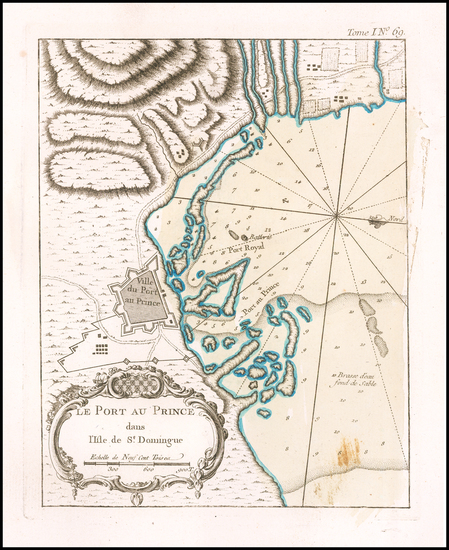 90-Hispaniola Map By Jacques Nicolas Bellin