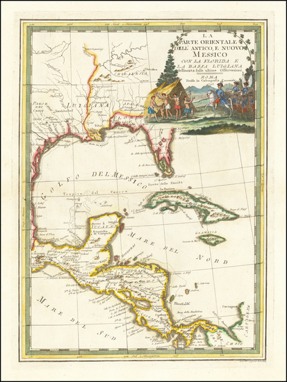 51-Florida, South, Southeast, Texas and Central America Map By Giovanni Maria Cassini