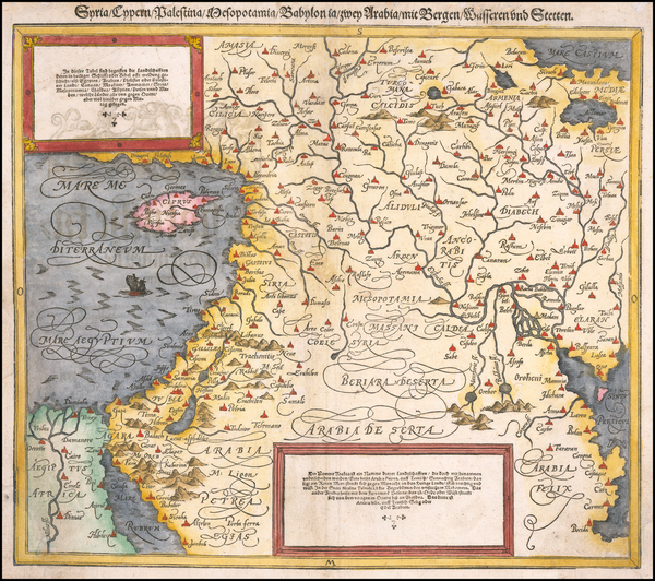 50-Cyprus, Middle East, Holy Land and Turkey & Asia Minor Map By Sebastian Munster
