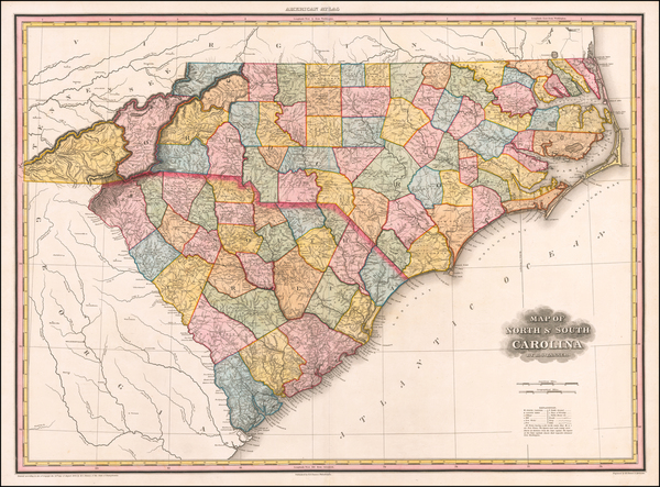 64-Southeast, North Carolina and South Carolina Map By Henry Schenk Tanner