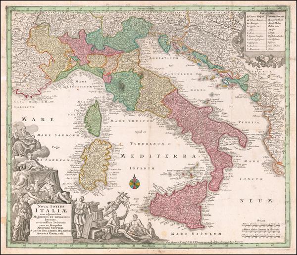 8-Italy Map By Matthaus Seutter
