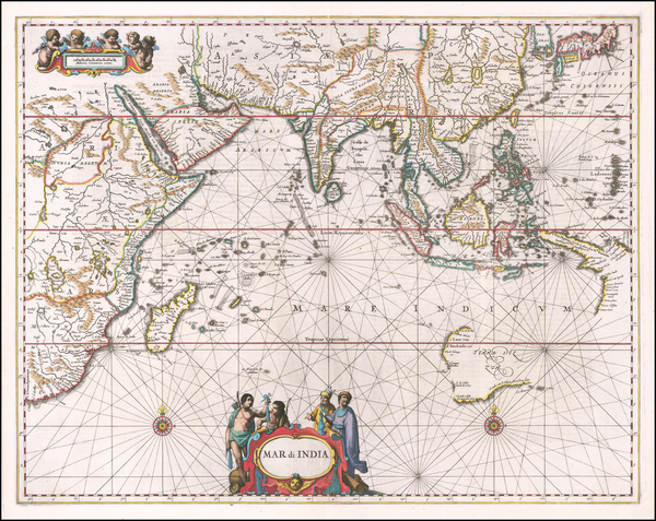 35-Indian Ocean, India, Southeast Asia, Philippines, Middle East, West Africa and Australia Map By