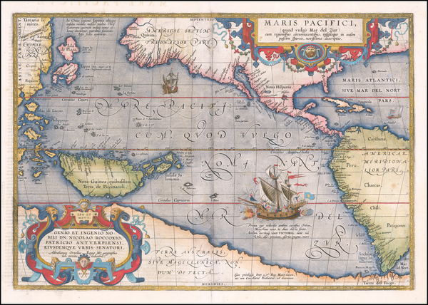 46-Western Hemisphere, Polar Maps, Japan, Pacific, Australia and America Map By Abraham Ortelius