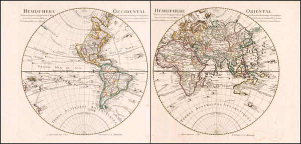 86-World, Eastern Hemisphere and Western Hemisphere Map By Johannes Covens  &  Pieter Mortier