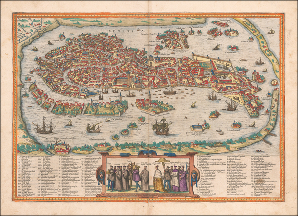 38-Venice Map By Georg Braun  &  Frans Hogenberg