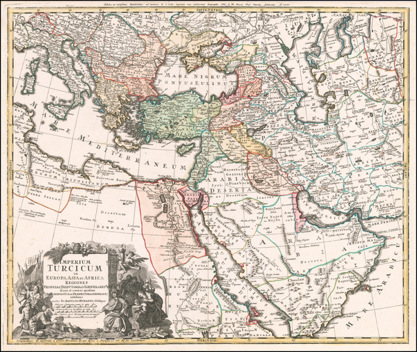 Turkey, Mediterranean, Middle East and Turkey & Asia Minor Map By Johann Baptist Homann