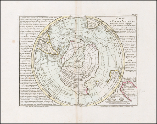 28-Southern Hemisphere, Polar Maps and New Zealand Map By Philippe Buache